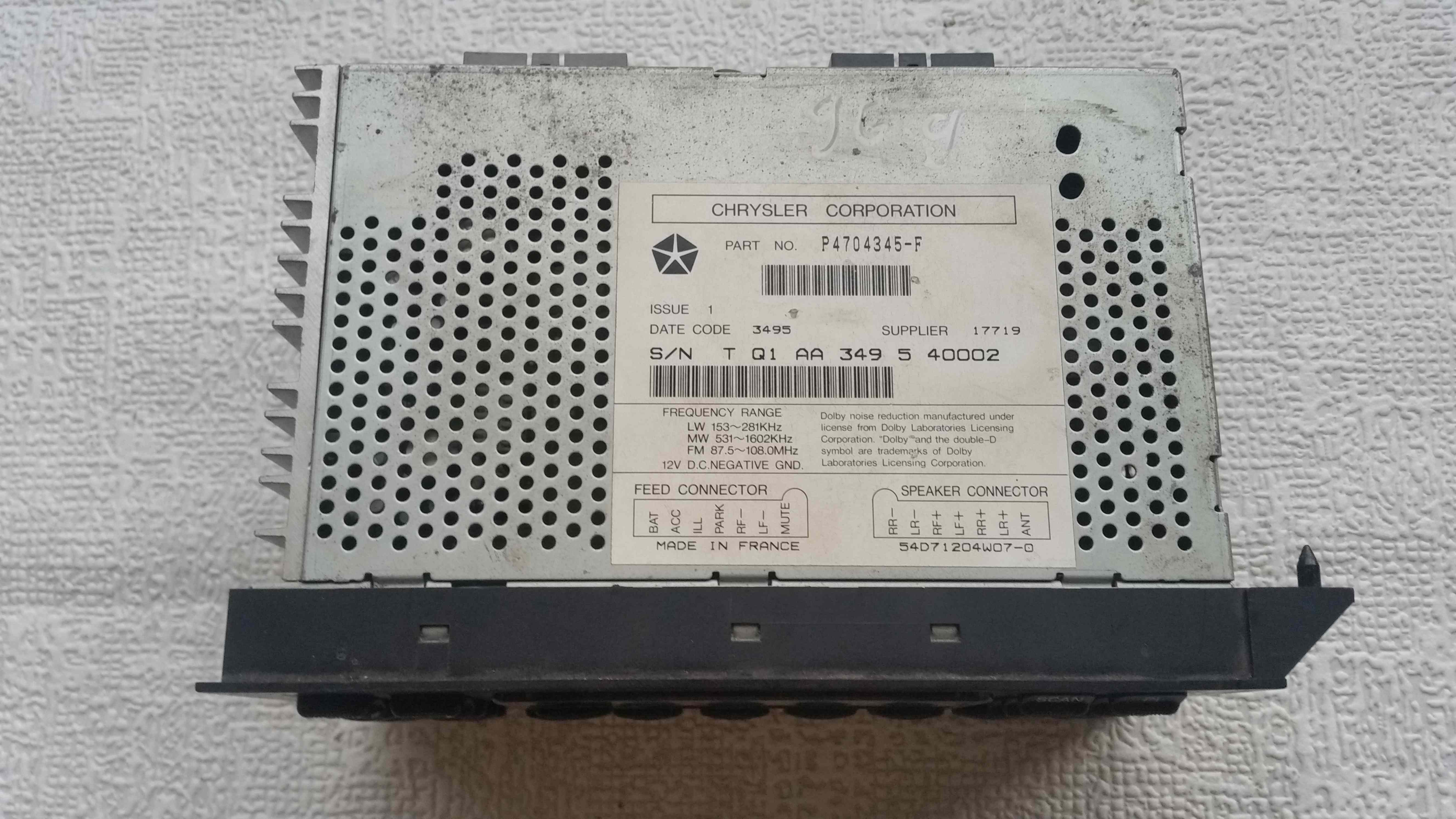 Chrysler voyager 96 00 radio cassette player head unit p4704345 f chrysler voyager 96 00 radio cassette player head unit p4704345 f article p4704345 f biocorpaavc