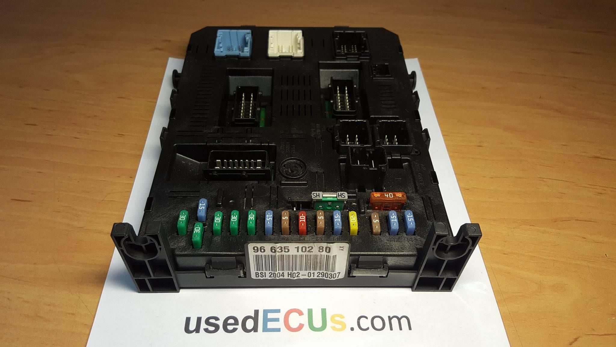 peugeot 307 bsi fuse box module, 21676031-5b 28119736- 3a vo2-00,  9663510280 - usedecus.com  catalog - usedecus.com
